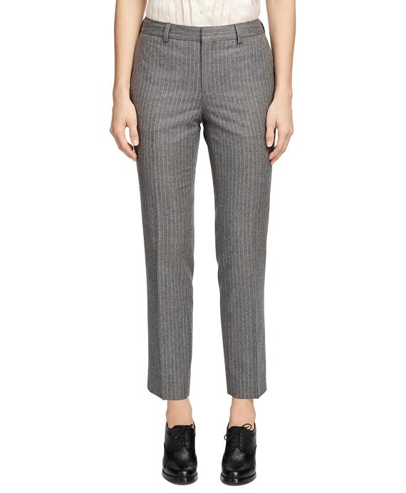 Wool Stripe Skinny Trousers Grey