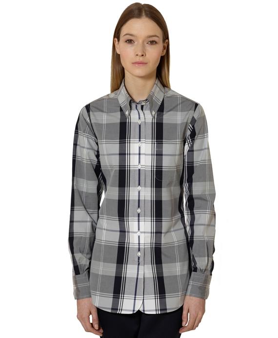 Tartan Broadcloth Button-Down Shirt Navy