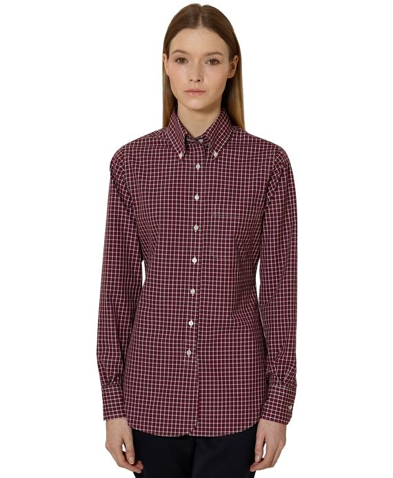 Mini Check Broadcloth Button-Down Shirt Red