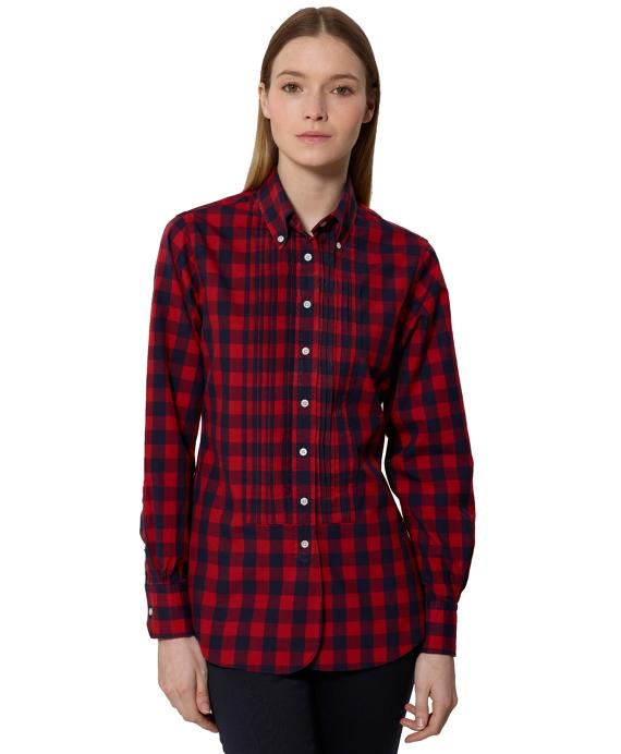 Small Buffalo Check Broadcloth Tuxedo Shirt Red