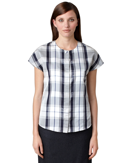 Tartan Silk Faille Blouse Navy
