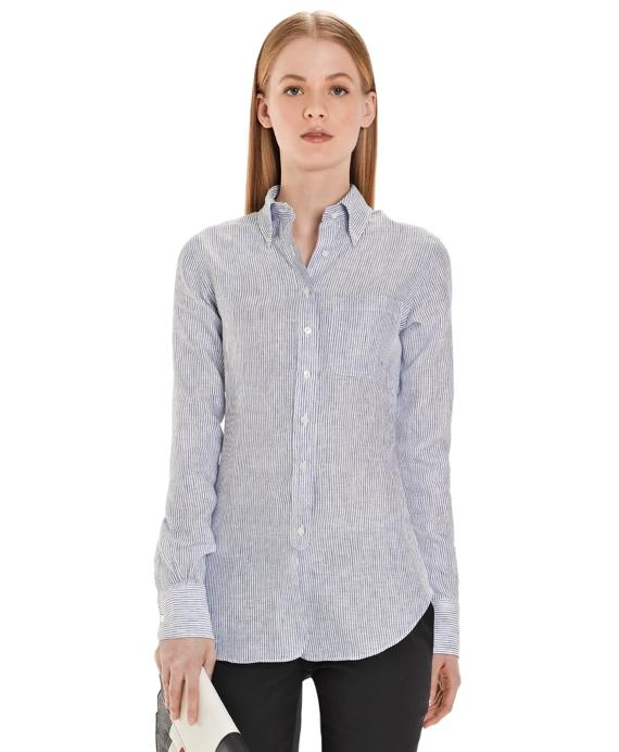 Bengal Stripe Linen Button-Down Shirt Navy