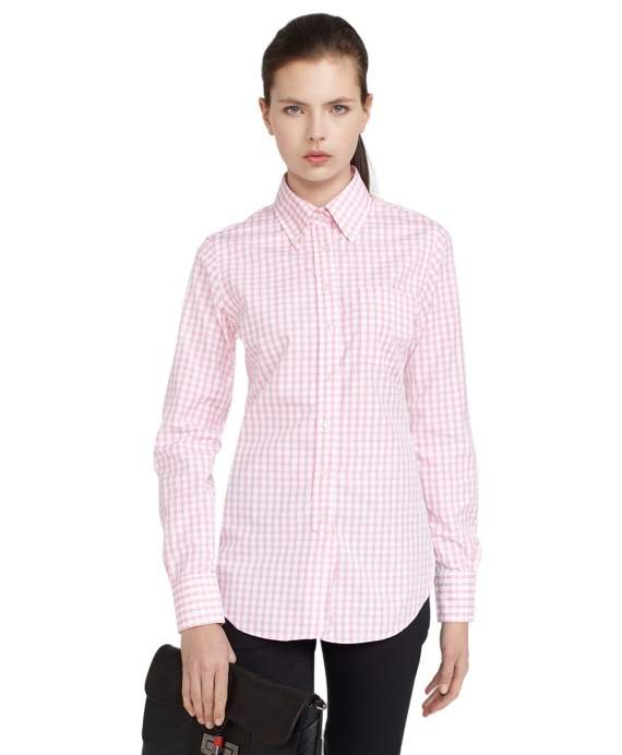 Gingham Button-Down Shirt Light Pink