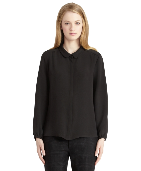 Black Silk Poet Blouse Black