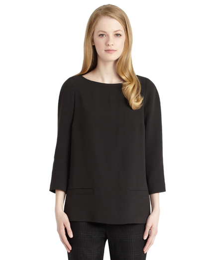 Buy Black Silk A-line Pocket Blouse, see details about this diamond and more