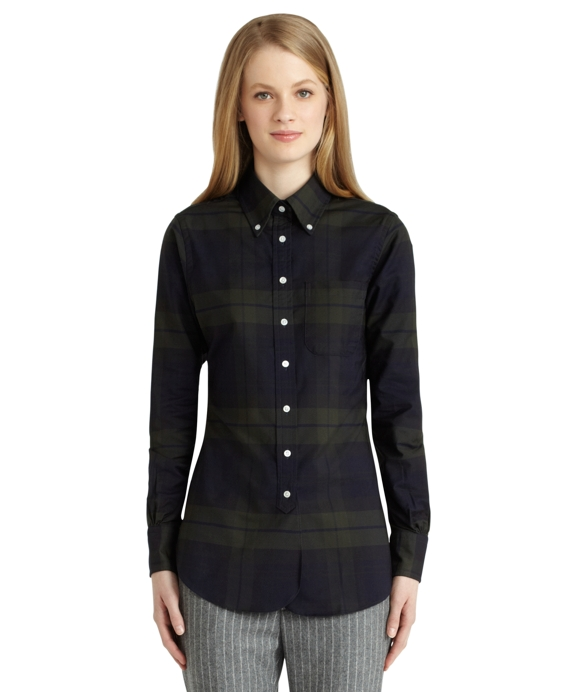 Tartan Oxford Button-Down Shirt Black-Navy