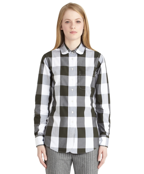 Poplin Large Buffalo Check Shirt Green-White