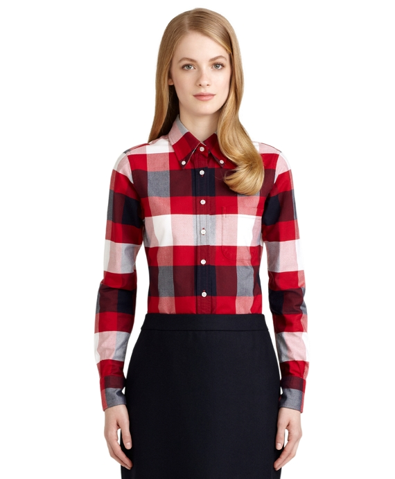 Buffalo Check Oxford Button-Down Shirt White-Red-Navy