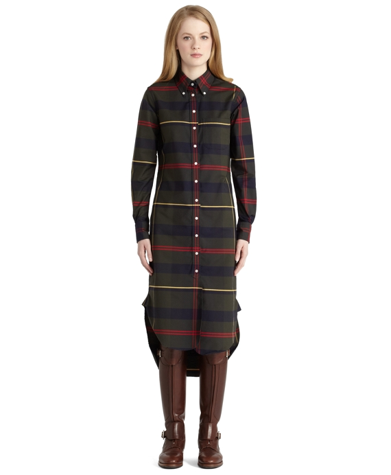 Multi Tartan Oxford Button-Down Shirt Dress Green-Multi