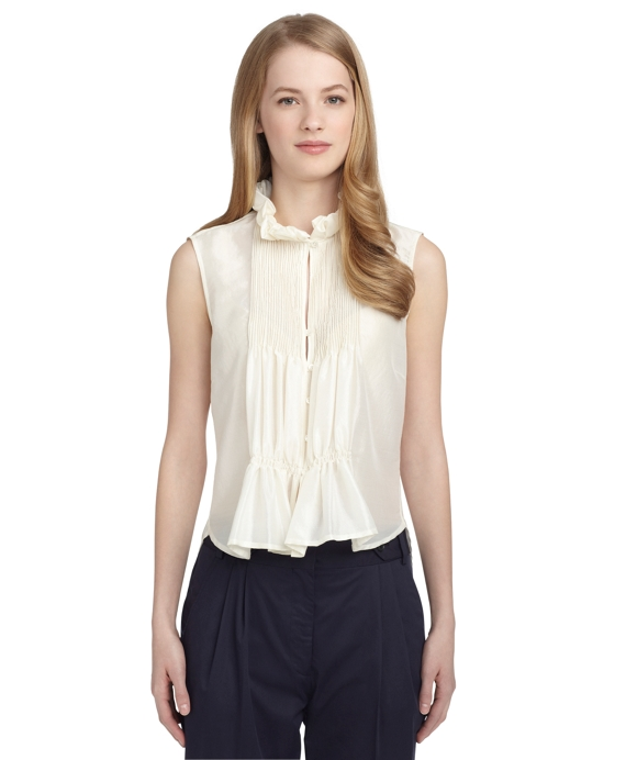 RUFFLED SLEEVELESS BLOUSE White