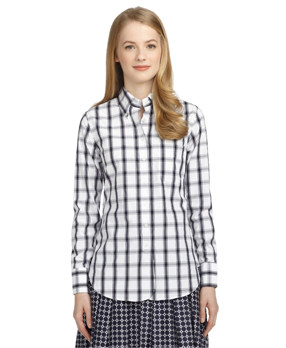 LARGE CHECK BUTTON-DOWN SHIRT White-Navy
