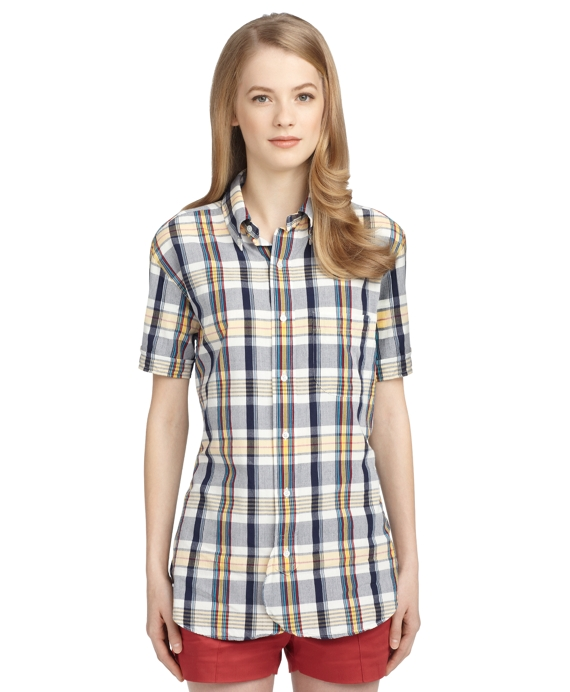 MADRAS BUTTON-DOWN SHIRT Navy-Yellow