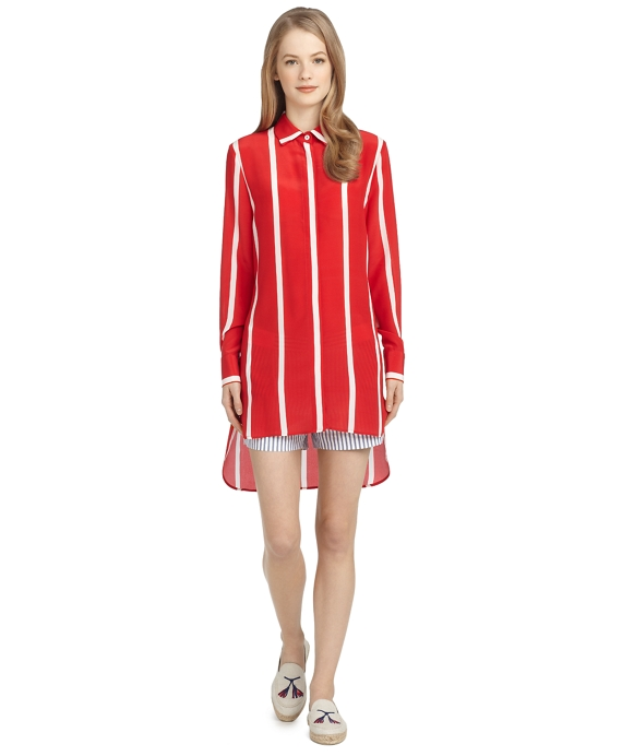 Women 39 s long silk red and white striped shirt brooks for Red and white striped button down shirt