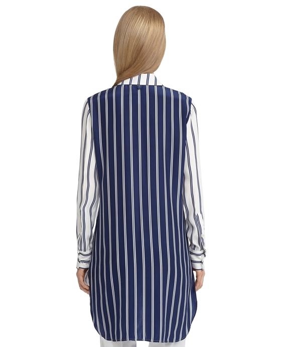 Women 39 s silk white and navy blue striped button down shirt for Red and white striped button down shirt