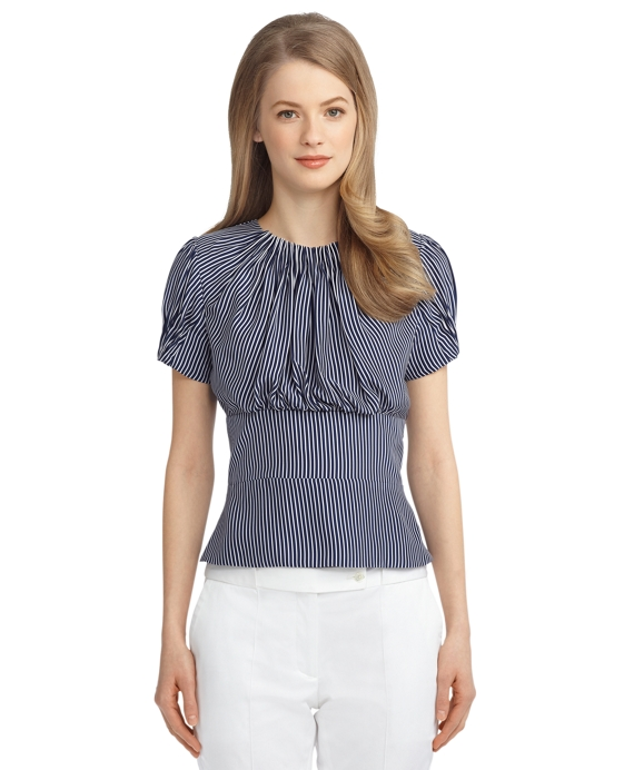SILK STRIPE PLEATED BLOUSE Navy-White