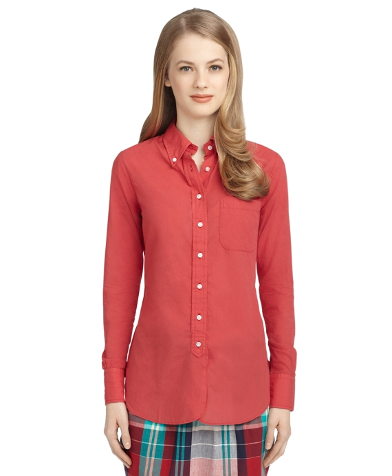 WASHED BUTTON-DOWN SHIRT Red