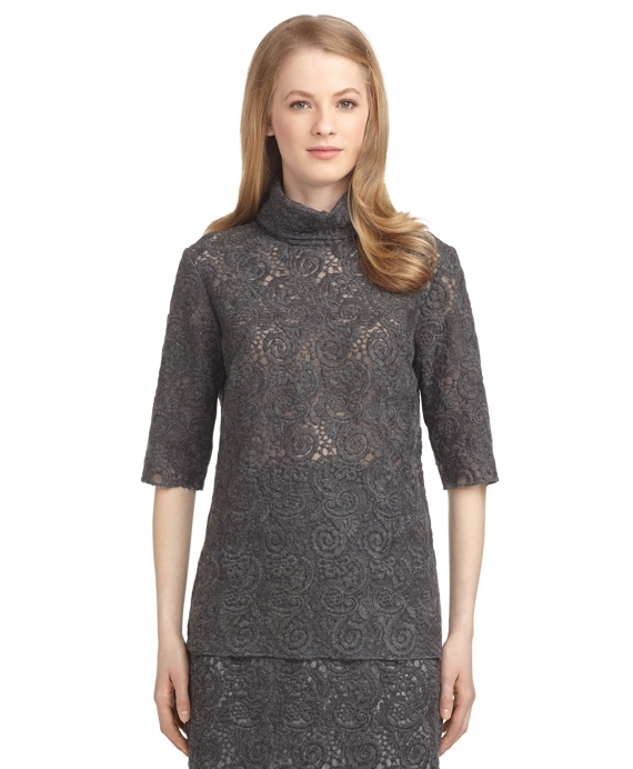 LACE AND TULLE MOCKNECK BLOUSE Grey