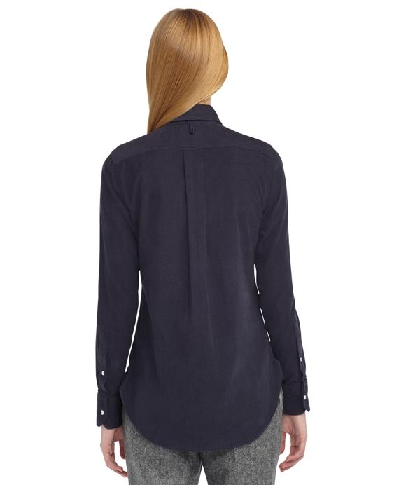 Women's Navy Blue Corduroy Button-Down Shirt | Brooks Brothers