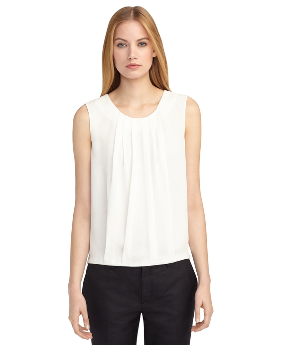 PLEAT FRONT SHIRT White