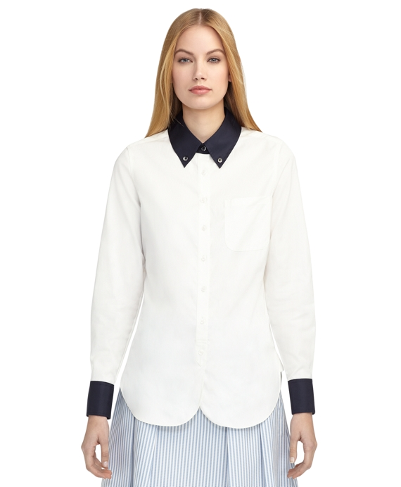CONTRAST SHIRT White-Navy