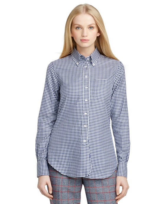 Two-Toned Check Button-Down Shirt Navy