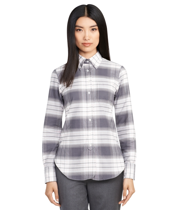 Women 39 s grey plaid button down shirt brooks brothers for Plaid button down shirts for women