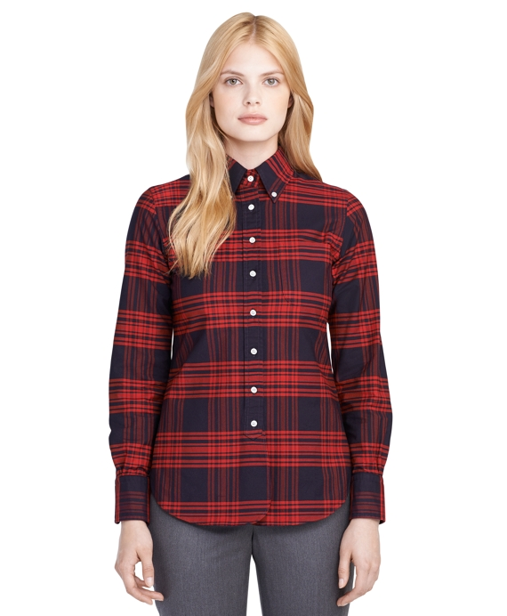 Supima® Cotton Plaid Button-Down Shirt Navy