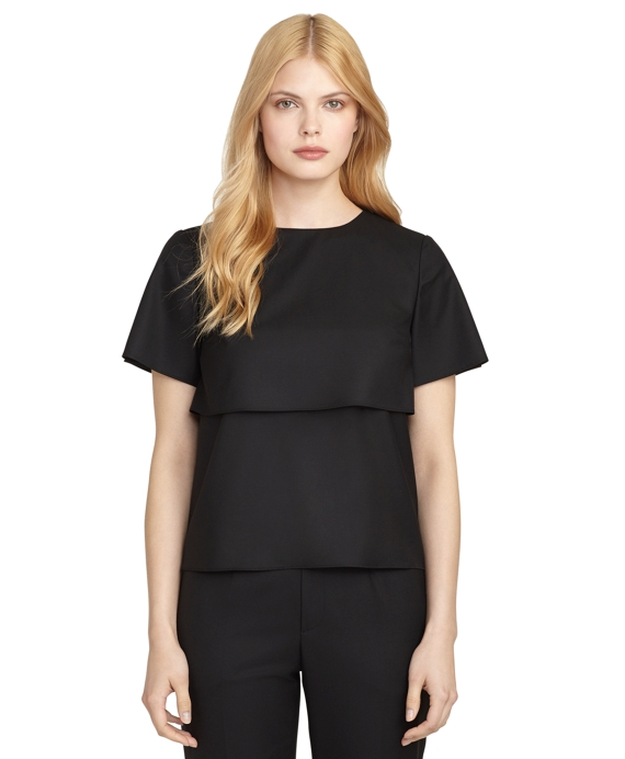 Short-Sleeve Tier Blouse Black