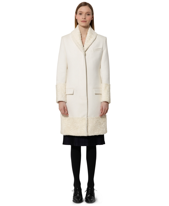 Black Fleece Chesterfield Coat with Fur White