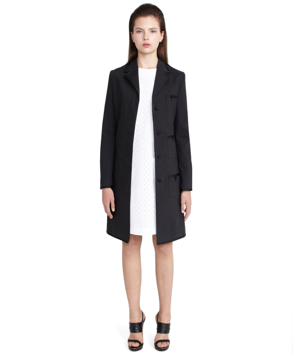 Short Grosgrain Tipped Coat Black