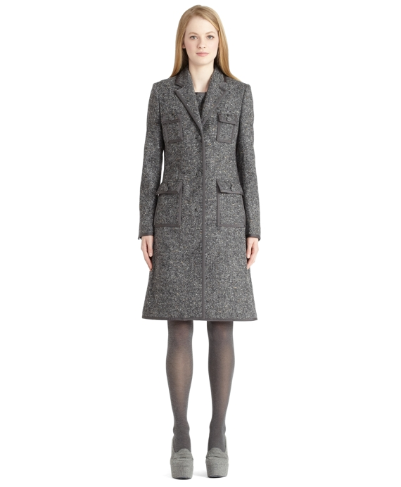 Donegal Coat With Grosgrain Trim Grey