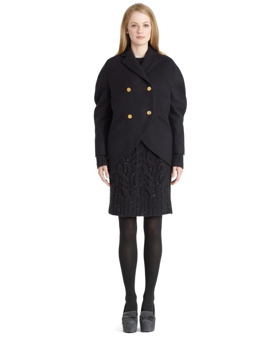 Navy Wool Cocoon Coat Navy