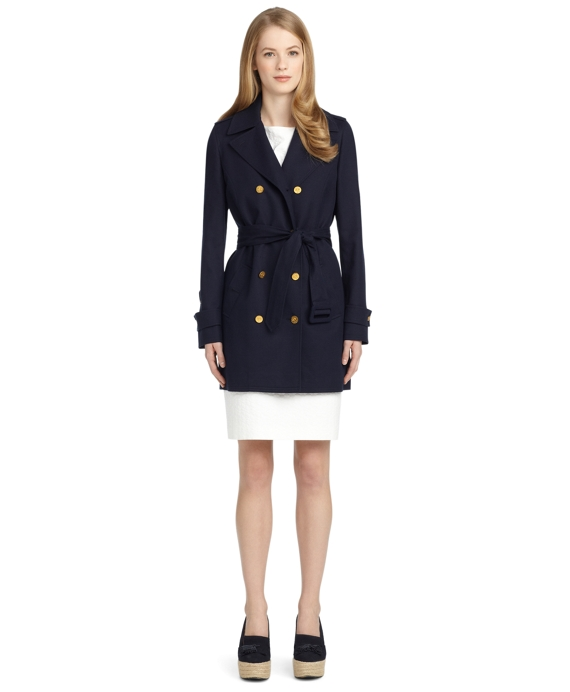 PIQUE BELTED SHORT TRENCH COAT Navy