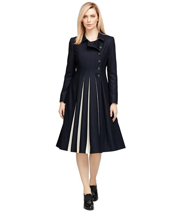 Wool Pleated Coat Navy