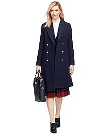 Wool Double-Breasted Pleated Coat