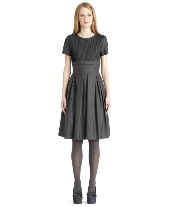 Vintage Pleated Dress Grey