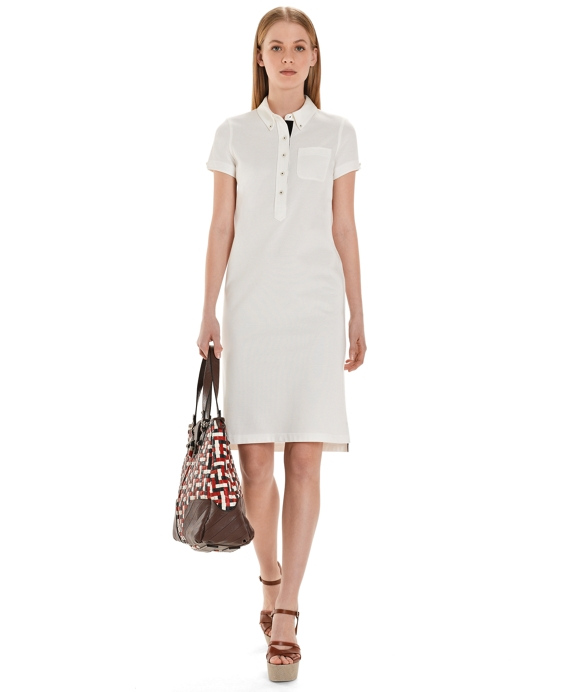 Solid Pique Polo  Dress White