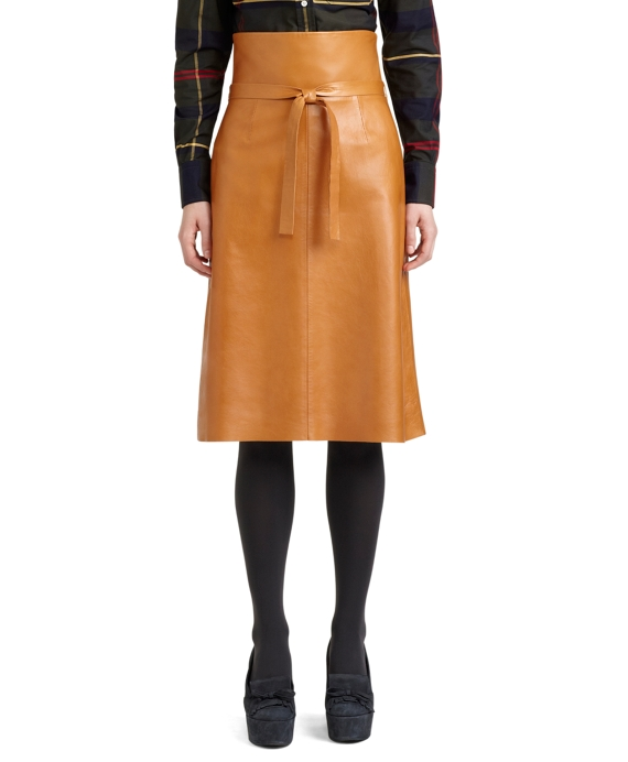 Leather Belted A-line Skirt Dark Cognac