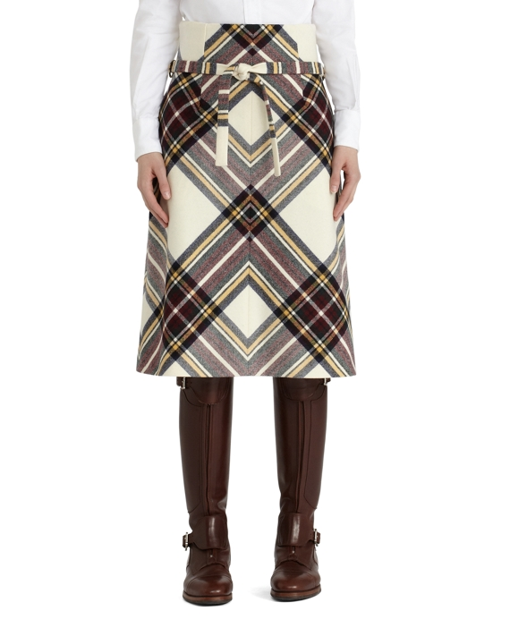 Wool Tartan Belted Skirt White-Wine
