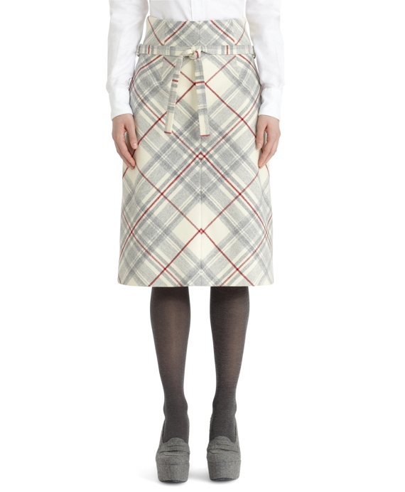 Wool Tartan Belted Skirt White-Grey
