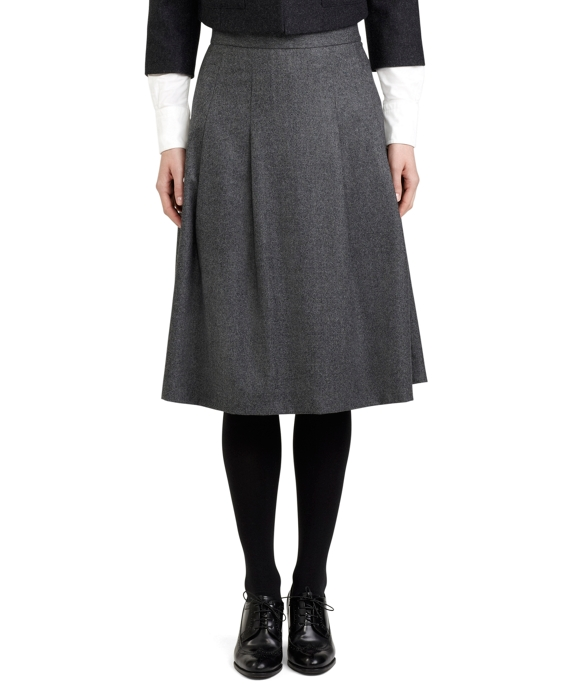 Women's Black Fleece Wool Pleated Skirt