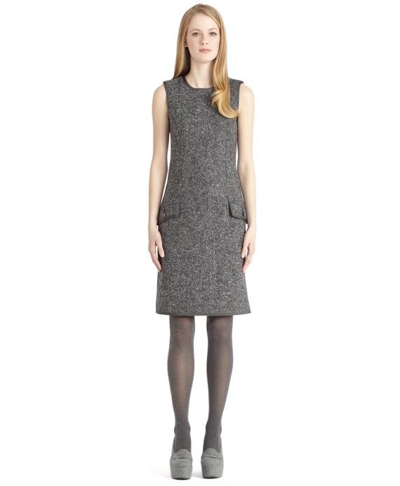Donegal Tweed Sheath Dress with Grosgrain Trim Grey
