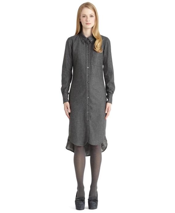 Wool Shirt Dress Grey
