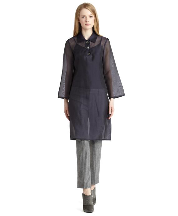 Silk Organza Shift Dress Navy
