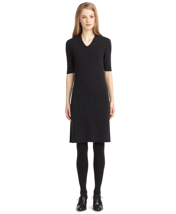 Cashmere and Silk V-Neck Dress Charcoal Heather