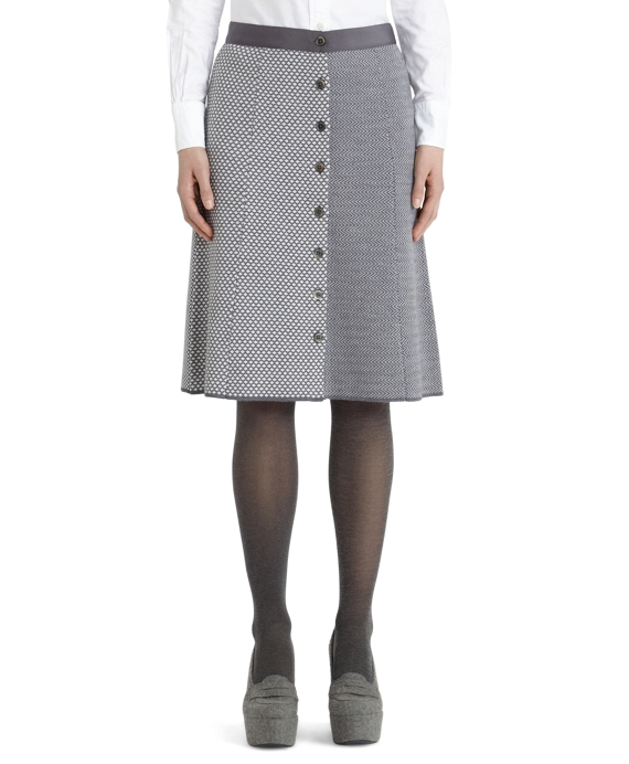 Button-Front Fun Skirt Charcoal-Ivory