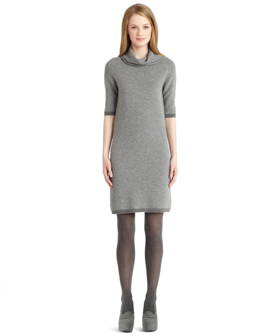 Wool Cowl Neck Dress Grey