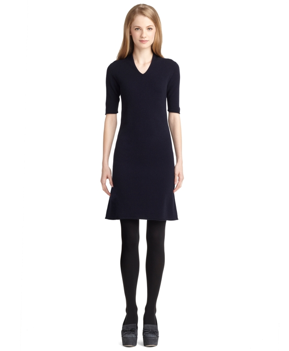 Wool and Cashmere V-Neck Dress Navy