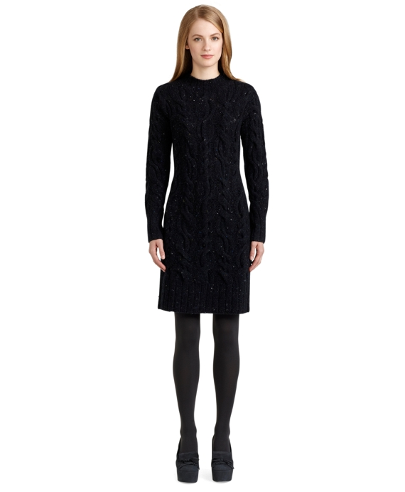 Donegal Cable Knit Dress Navy