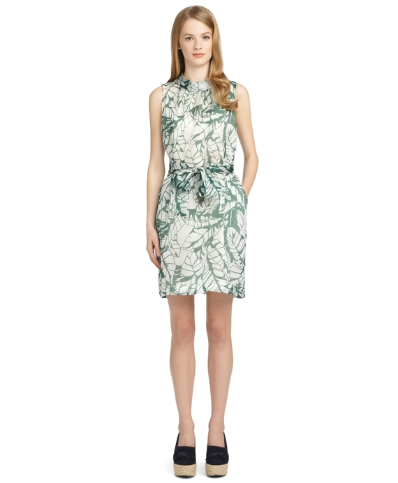 SILK BANANA LEAF BELTED DRESS Green-White